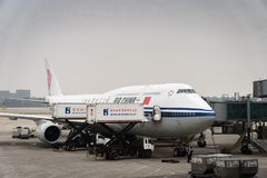 Air China flygbussflygplan landade på Pekingflygplatsen i Kina Arkivbilder