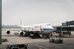 Air China flygbussflygplan landade på Pekingflygplatsen i Kina Royaltyfri Bild