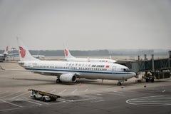 Air China-Luchtbusvliegtuigen bij de luchthaven van Peking in China zijn geland dat Royalty-vrije Stock Foto's