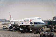Air China-Luchtbusvliegtuigen bij de luchthaven van Peking in China zijn geland dat Stock Afbeeldingen