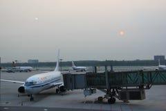 Air China przy Pekin kapitału lotniskiem międzynarodowym Zdjęcia Stock