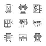 Air cleaning equipment black line icons set Royalty Free Stock Photography