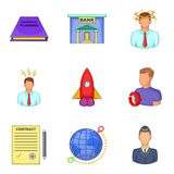 Air company icons set, cartoon style. Air company icons set. Cartoon set of 9 air company vector icons for web isolated on white background Royalty Free Stock Image