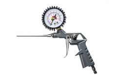 Air compressor gun with manometer isolated on a white background Stock Photography