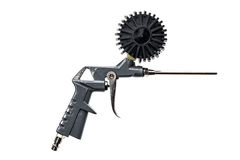 Air compressor gun with manometer isolated on a white background. Close up of blow gun for compressed air as a part of air compressor system with manometer stock photography