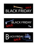 Air Compressor with Repair Tools Kits on Black Friday Banners Stock Photography