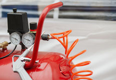 Air compressor system: manometer Stock Images