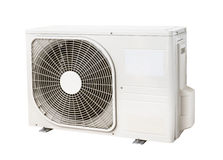 Air condenser unit. Outside air condenser unit isolated on white background royalty free stock image