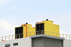 Air condenser unit. Two air condenser unit on roof top of building royalty free stock images
