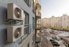 Air condiioners on fasade of reidenial apartmen building. Stock Image