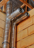 Air condition. Pipes for air conditioning in the assembly phase Royalty Free Stock Image