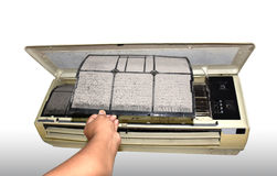 Air condition filter replacement Stock Image
