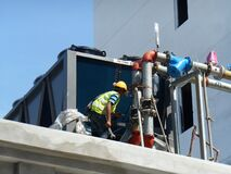 Free Air-condition Supply And Return Chiller Pipe Installation Work Stock Photos - 220125063