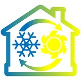 Air condition system colorful icon, house with snowflake, sun and arrows Royalty Free Stock Photography