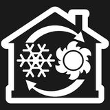 Air condition system icon, house with snowflake, sun and arrows Royalty Free Stock Images