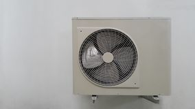 Air condition unit on wall. Outdoor part for condencing unit stock image