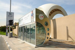 Air Conditioned Bus Stop in Dubai stock image