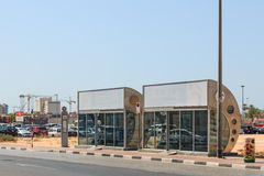 An air conditioned bus stop in Dubai. Royalty Free Stock Images