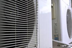 Air conditioner. Outdoor units in row Royalty Free Stock Photos