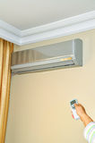 Air conditioner. Indoor unit mounted on home wall Stock Image