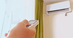Air conditioner cooling fresh system saving energy. On white wall background stock video footage