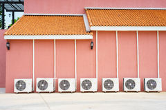 Air conditioner on floor, outdoors Stock Photos