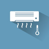 Air conditioner icon with cold air. On blue background Royalty Free Stock Photos