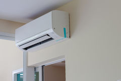 Air conditioner install on wall for condo or meeting room royalty free stock photos