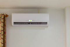 Air conditioner install on wall for condo or meeting room, power Stock Image