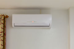 Air conditioner install on wall for condo or meeting room, power Stock Photos