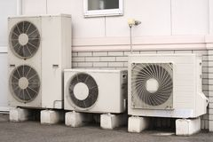 Air conditioner installation Royalty Free Stock Images