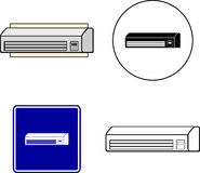 Air conditioner mini split. Mixed set with symbol, sign, color and black and white illustrations of an air conditioner mini-split apparatus Stock Photo
