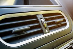Air conditioner in modern car. Close up, car interior detail Royalty Free Stock Photography