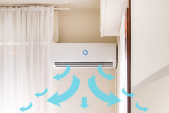Air conditioner mounted on the room wall for refreshing against Royalty Free Stock Images