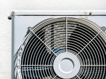 Air conditioner little rust fan coil compressor sun light out door stock image
