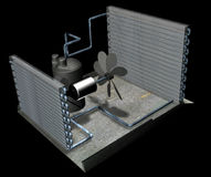 Air conditioner parts. This is a 3d render showing the main parts of an air conditioner unit. the evaperater, the condensor, the compresser and the fan and pipes stock image