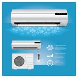 Air Conditioner Realistic and Remote Control with Cold. Air Symbols Vector Illustration Stock Photo