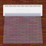 Air Conditioner on the Red Brick Wall. Royalty Free Stock Photography