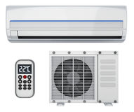 Air-conditioner and remote control Stock Photos