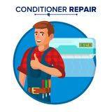 Air Conditioner Repair Service Vector. Technician Repairing Classic Conditioner On The Wall.  On White Cartoon. Professional Air Conditioner Repair Vector. Man Royalty Free Stock Images
