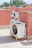 Air conditioner on the roof. Air conditioner unit on top of the roof Royalty Free Stock Images