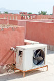 Air conditioner on the roof. Air conditioner unit on top of the roof Stock Images