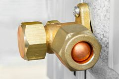 Air conditioner service and shut off valve Stock Photos