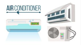 Air Conditioner Set Vector. Different Types Office, Home Conditioner System. Indoors, Outdoors Cartoon Flat  Stock Photography