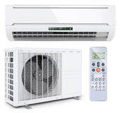 Air conditioner split system with remote controller. On white background 3d Stock Images
