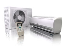 Air conditioner system  on white. 3d Stock Images