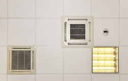 Air conditioner systems in place with light Stock Image