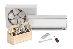 Air conditioner with toolbox and tools. Repair and tech support Stock Photo