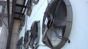 Air conditioner unit fan rotating. Industrial air conditioning system stock footage