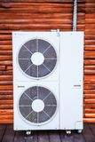 Air conditioner units use fan to distribute conditioned air to improve thermal comfort and indoor air quality. Air conditioning is. Process of removing heat and stock image